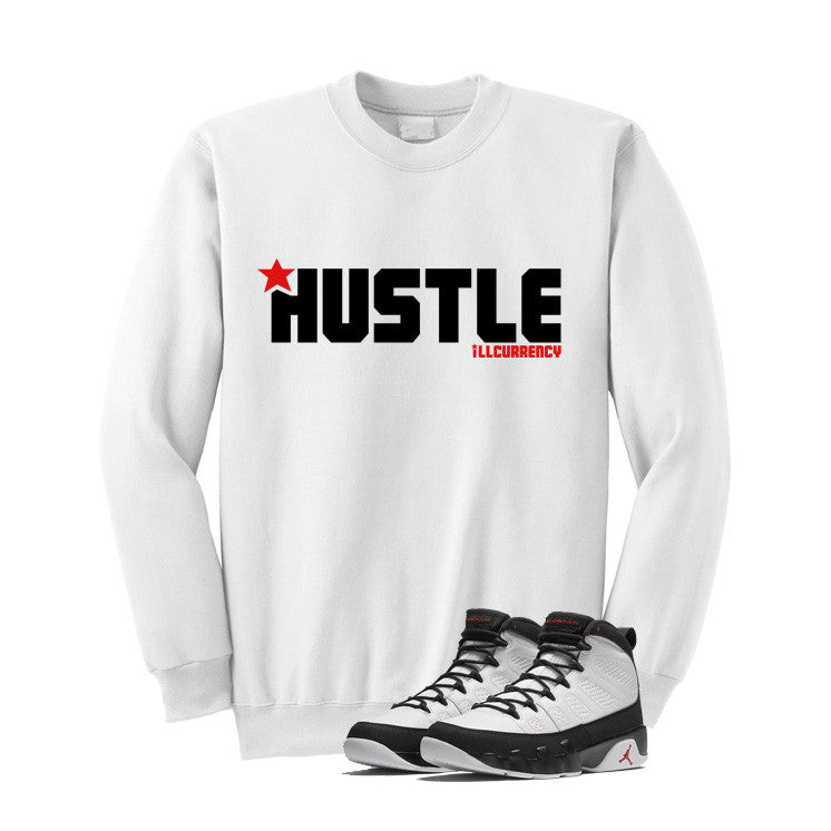 Jordan 9 Og True Red White T Shirt (Hustle) - illCurrency Matching T-shirts For Sneakers and Sneaker Release Date News - 2