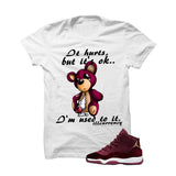 Jordan 11 Velvet Maroon Night White T Shirt (It Hurts) - illCurrency Matching T-shirts For Sneakers and Sneaker Release Date News - 1