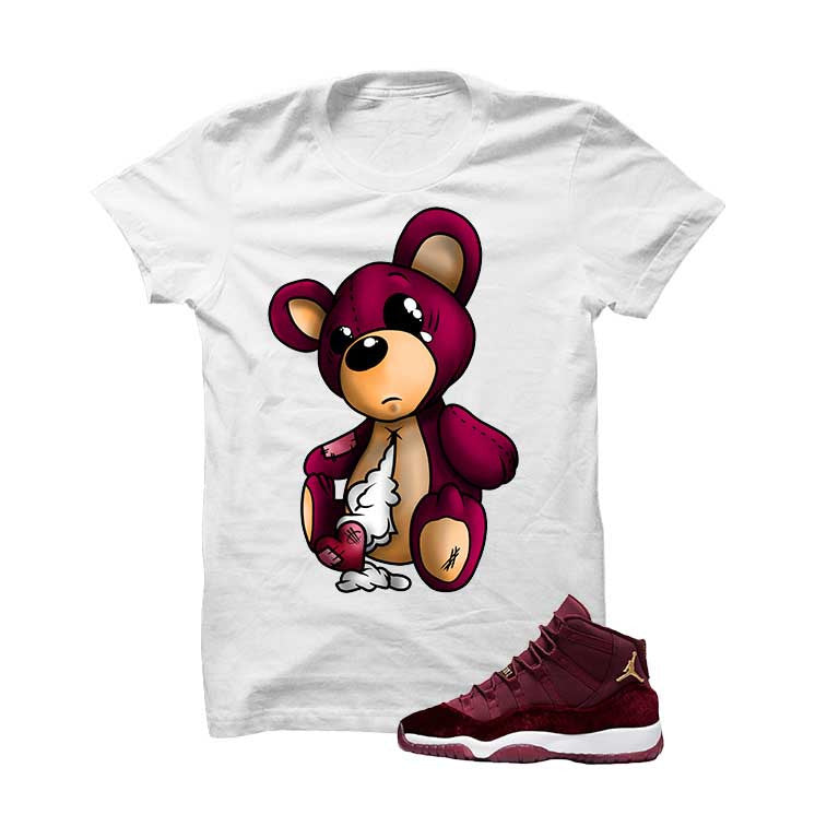 Jordan 11 Velvet Maroon Night White T Shirt (Teddy Bear) - illCurrency Matching T-shirts For Sneakers and Sneaker Release Date News - 1