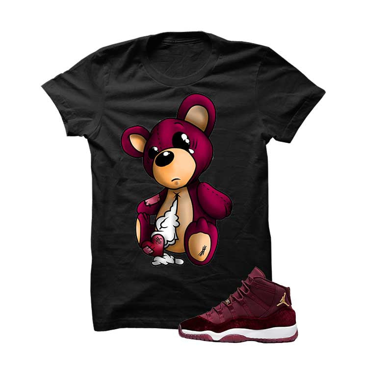 Jordan 11 Velvet Maroon Night Black T Shirt (Teddy Bear) - illCurrency Matching T-shirts For Sneakers and Sneaker Release Date News - 1