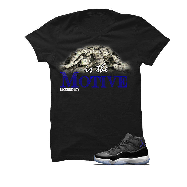 Jordan 11 Space Jam Black T Shirt (Money Is The Motive) - illCurrency Matching T-shirts For Sneakers and Sneaker Release Date News - 1