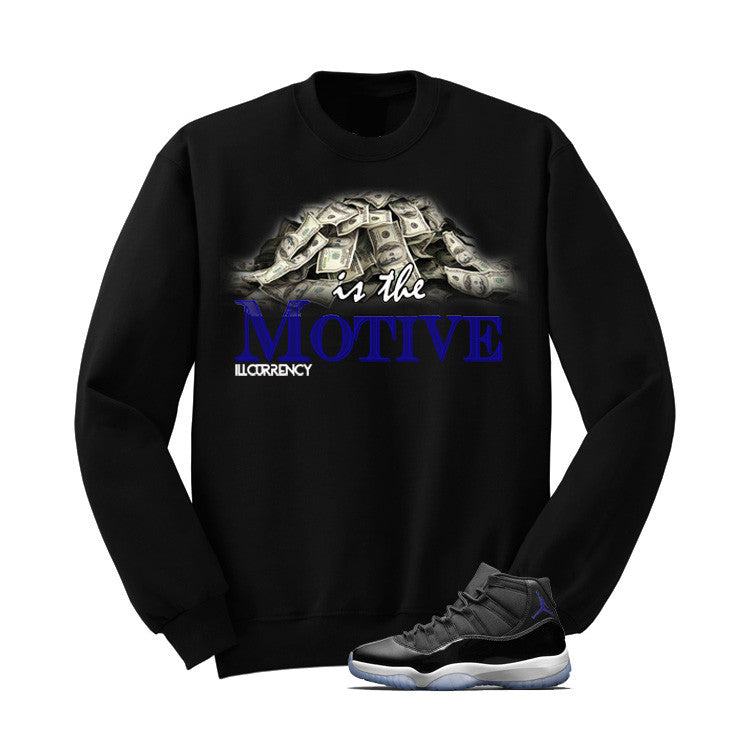 Jordan 11 Space Jam Black T Shirt (Money Is The Motive) - illCurrency Matching T-shirts For Sneakers and Sneaker Release Date News - 2