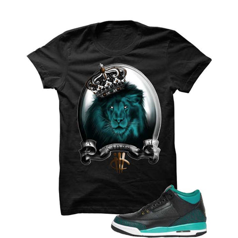 Jordan 3 Gs Black Teal Gold Black T Shirt (Skull Head)