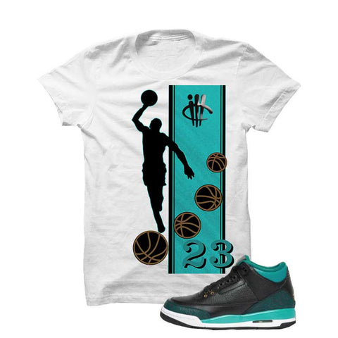 Jordan 3 Gs Black Teal Gold Black T Shirt (Snakes)