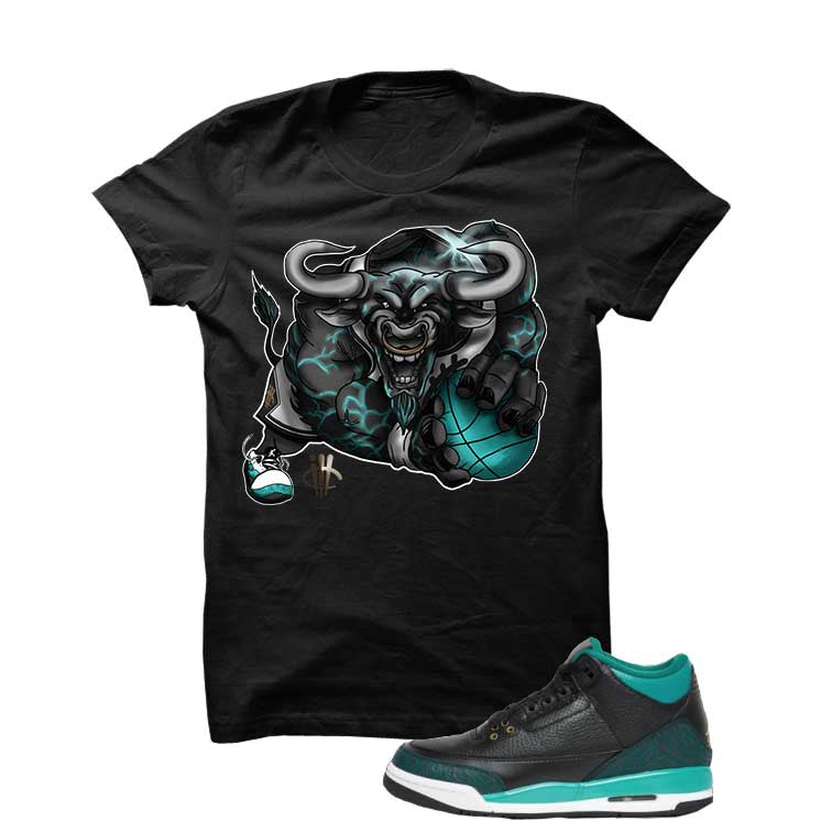 Jordan 3 Gs Black Teal Gold Black T Shirt (Running Bull) - illCurrency Matching T-shirts For Sneakers and Sneaker Release Date News - 1