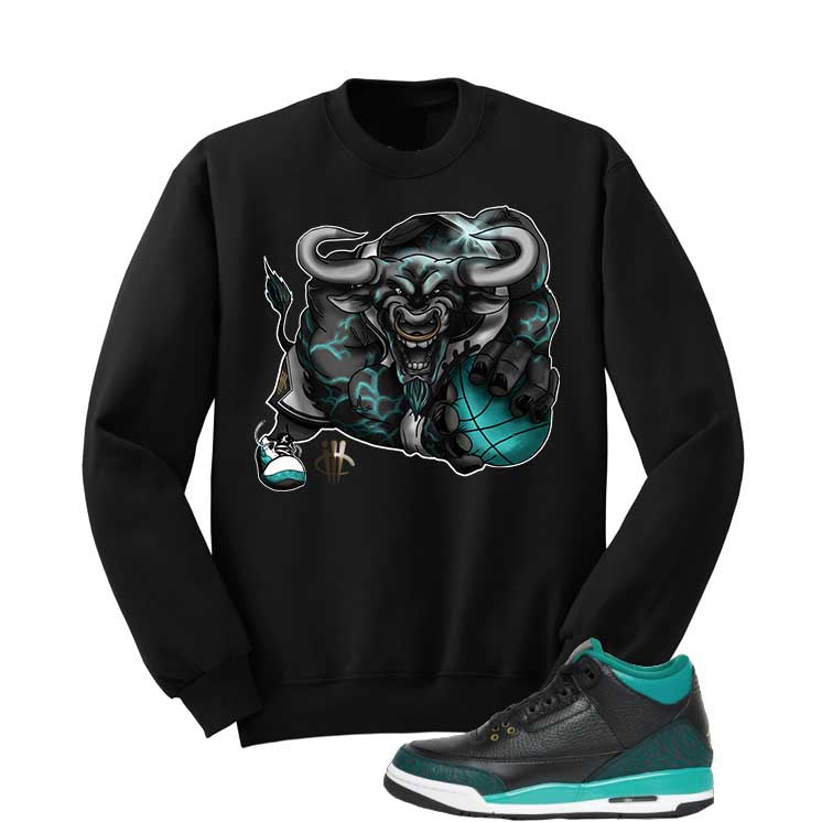 Jordan 3 Gs Black Teal Gold Black T Shirt (Running Bull) - illCurrency Matching T-shirts For Sneakers and Sneaker Release Date News - 2