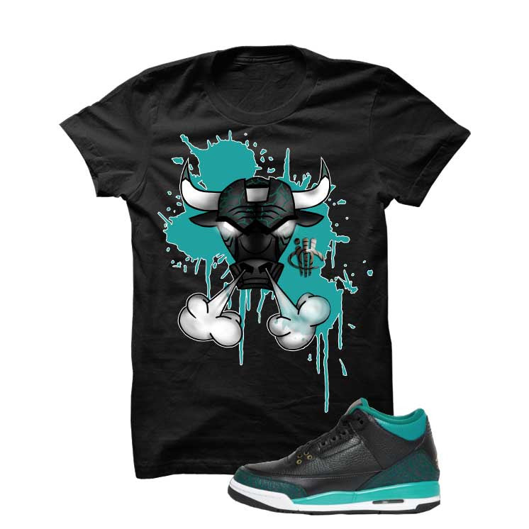 Jordan 3 Gs Black Teal Gold Black T Shirt (Iron Bull) - illCurrency Matching T-shirts For Sneakers and Sneaker Release Date News - 1