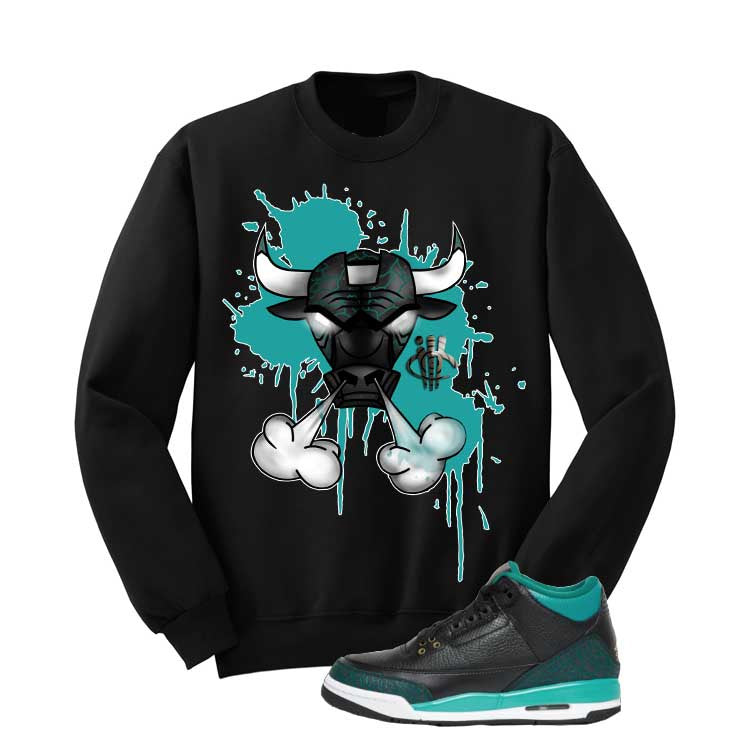 Jordan 3 Gs Black Teal Gold Black T Shirt (Iron Bull) - illCurrency Matching T-shirts For Sneakers and Sneaker Release Date News - 2