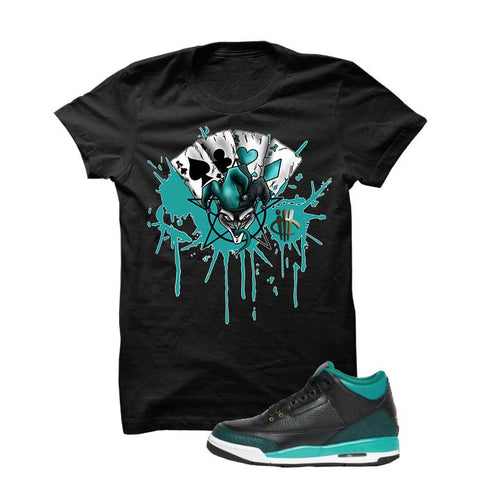 Jordan 3 Gs Black Teal Gold Black T Shirt (Lion)