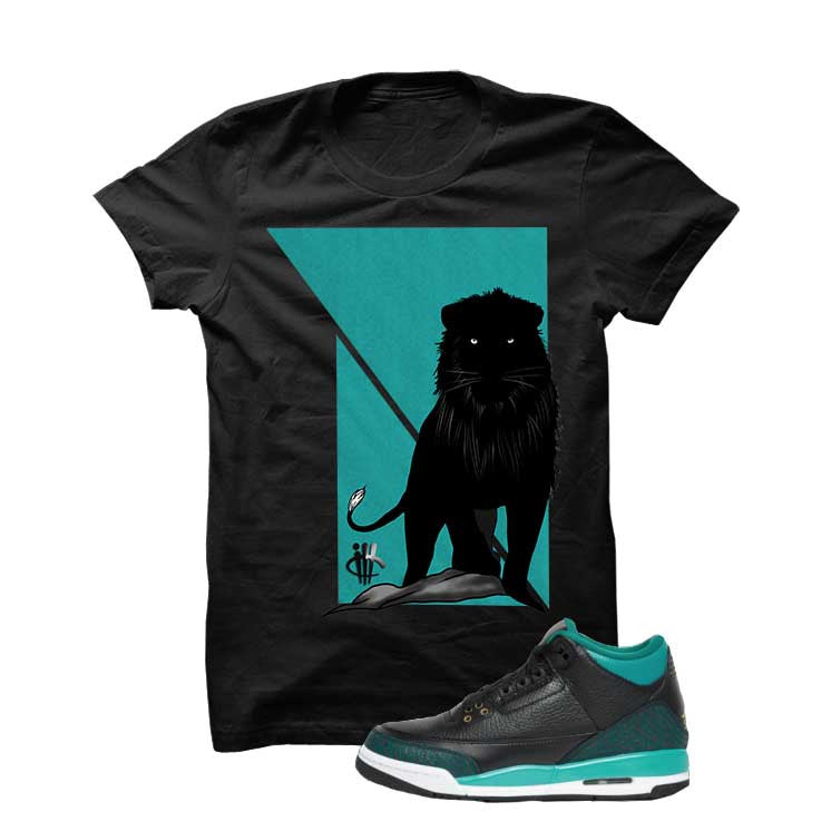 Jordan 3 Gs Black Teal Gold Black T Shirt (Lion) - illCurrency Matching T-shirts For Sneakers and Sneaker Release Date News - 1