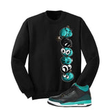 Jordan 3 Gs Black Teal Gold Black T Shirt (Cherry Bombs) - illCurrency Matching T-shirts For Sneakers and Sneaker Release Date News - 2