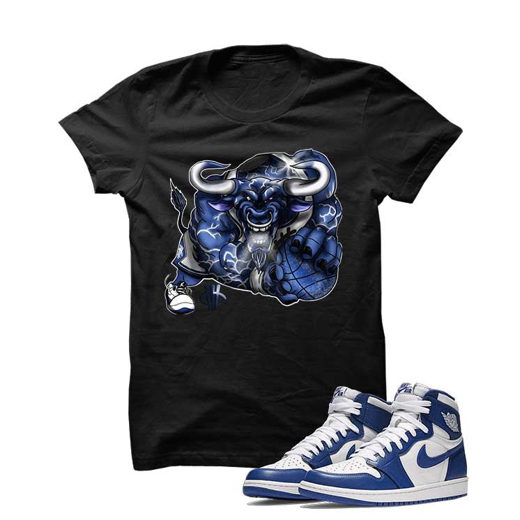 Jordan 1 High OG Storm Blue Black T Shirt (Running Bull) - illCurrency Matching T-shirts For Sneakers and Sneaker Release Date News