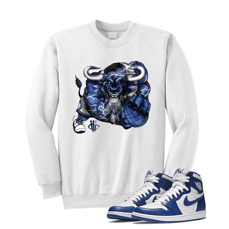 Jordan 1 High OG Storm Blue White T Shirt (Running Bull) - illCurrency Matching T-shirts For Sneakers and Sneaker Release Date News - 2
