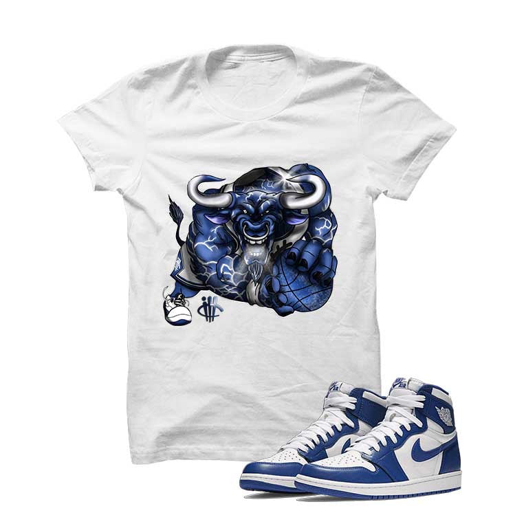Jordan 1 High OG Storm Blue White T Shirt (Running Bull) - illCurrency Matching T-shirts For Sneakers and Sneaker Release Date News - 1