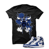 Jordan 1 High OG Storm Blue Black T Shirt (Iron Bull) - illCurrency Matching T-shirts For Sneakers and Sneaker Release Date News - 1