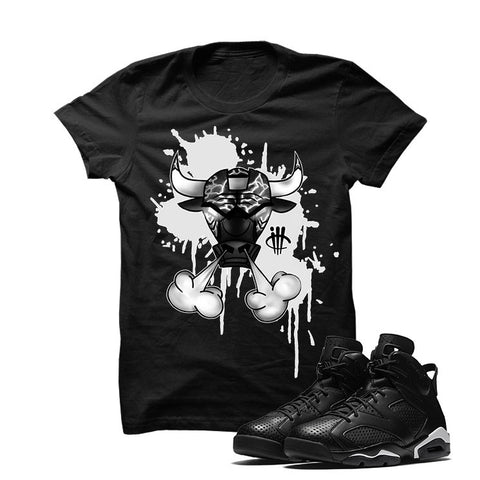 Jordan 6 Black Cat Black T Shirt (Cherry Bombs)