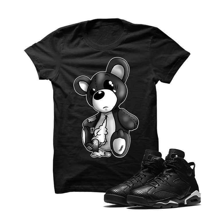 Jordan 6 Black Cat Black T Shirt (Teddy Bear) - illCurrency Matching T-shirts For Sneakers and Sneaker Release Date News - 1
