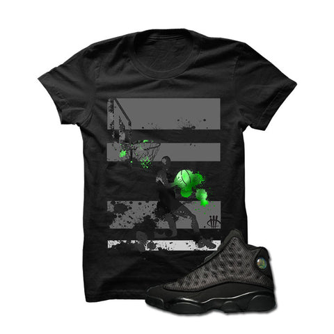 Jordan 13 Black Cat Black T Shirt (Follow My Lead)
