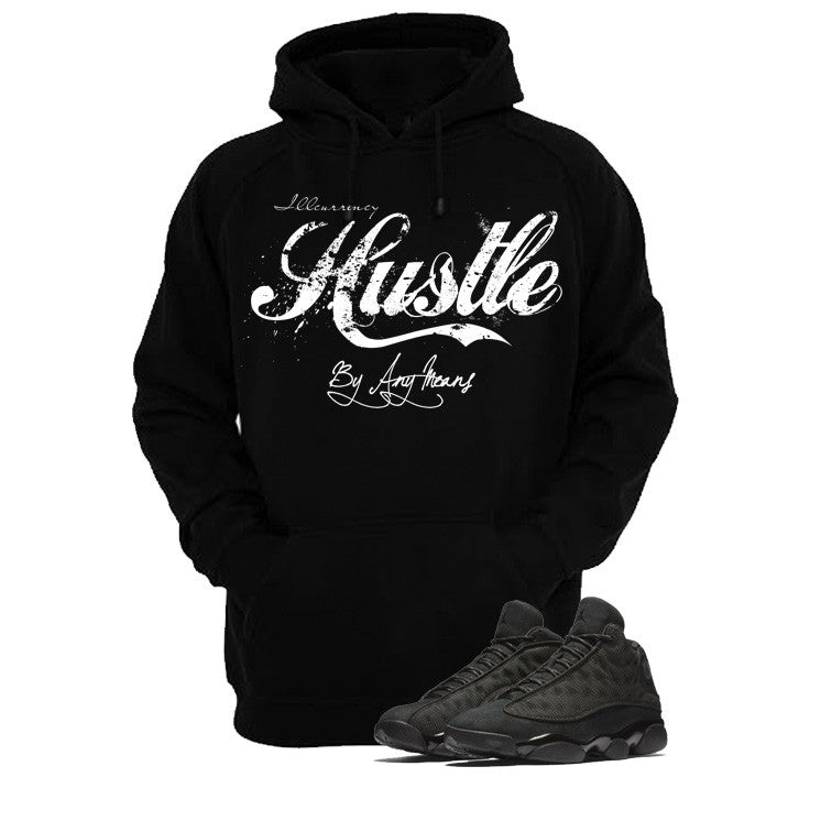 Jordan 13 Black Cat Black T Shirt (Hustle By Any Means) - illCurrency Matching T-shirts For Sneakers and Sneaker Release Date News - 3