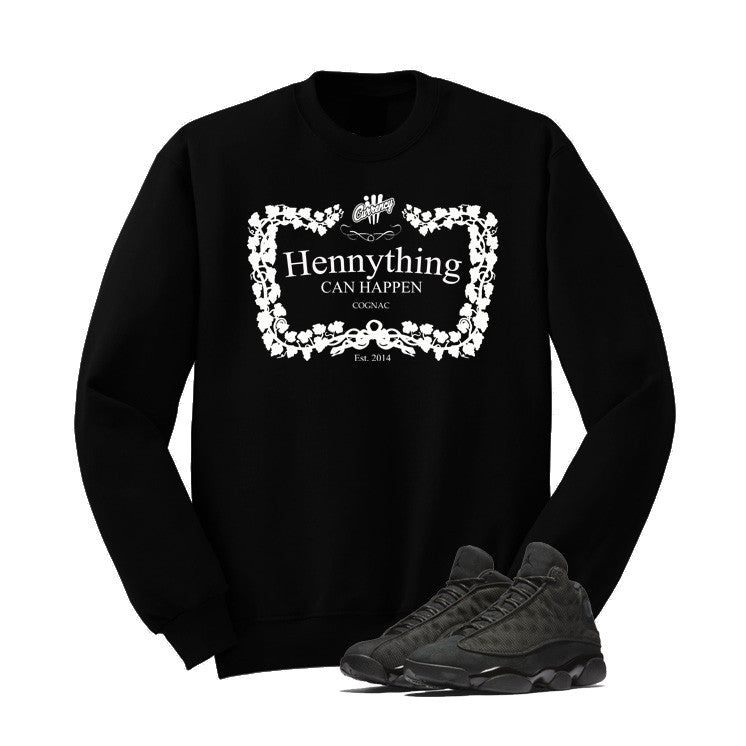 Jordan 13 Black Cat Black T Shirt (Henny) - illCurrency Matching T-shirts For Sneakers and Sneaker Release Date News - 2