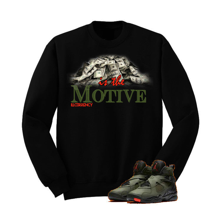 Jordan 8 Undefeated Black T Shirt (Money Is The Motive) - illCurrency Matching T-shirts For Sneakers and Sneaker Release Date News - 2