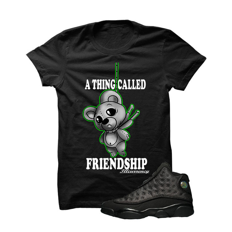 Jordan 13 Black Cat Black T Shirt (Friendship Teddy) - illCurrency Matching T-shirts For Sneakers and Sneaker Release Date News - 1