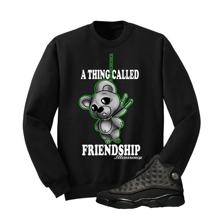 Jordan 13 Black Cat Black T Shirt (Friendship Teddy) - illCurrency Matching T-shirts For Sneakers and Sneaker Release Date News - 2