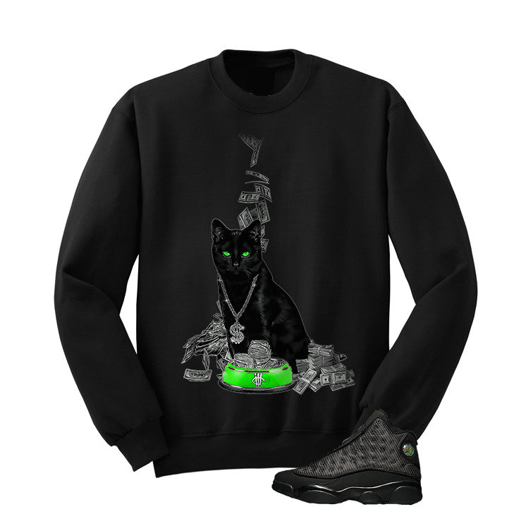 Jordan 13 Black Cat Black T Shirt (Money Cat) - illCurrency Matching T-shirts For Sneakers and Sneaker Release Date News - 2
