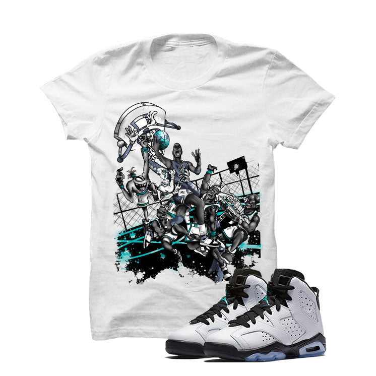 Jordan 6 Gs Hyper Jade White T Shirt (Alien Attack) - illCurrency Matching T-shirts For Sneakers and Sneaker Release Date News - 1