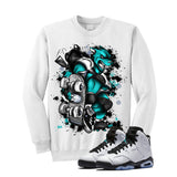 Jordan 6 Gs Hyper Jade White T Shirt (Skateboard Cat) - illCurrency Matching T-shirts For Sneakers and Sneaker Release Date News - 2