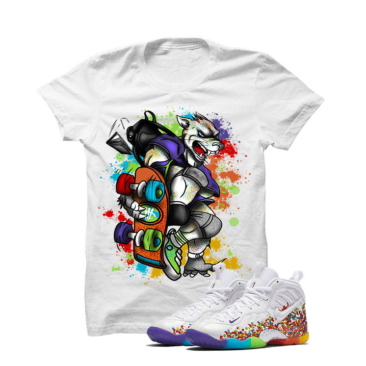 Nike Little Posite Pro Fruity Pebbles White T Shirt (Skateboard Cat) - illCurrency Matching T-shirts For Sneakers and Sneaker Release Date News - 1