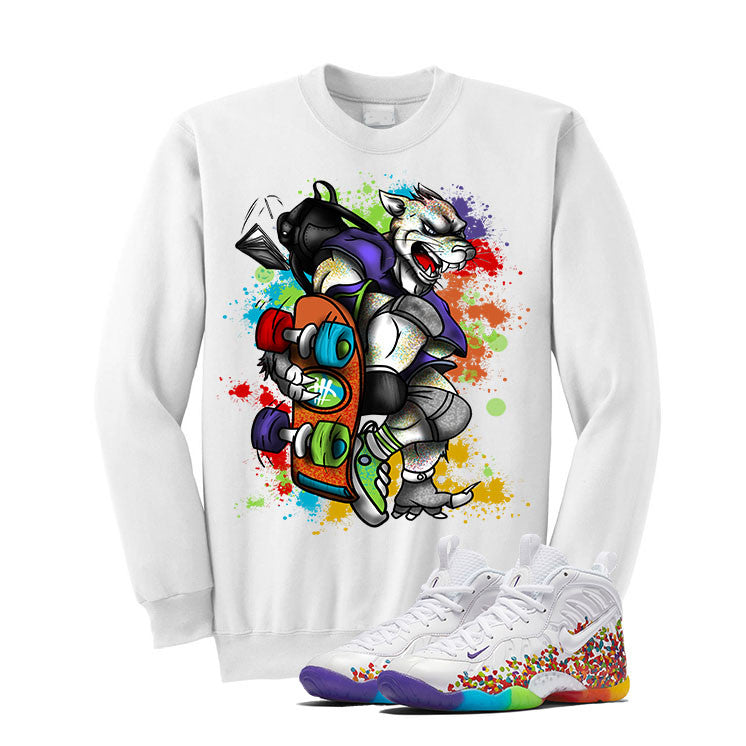 Nike Little Posite Pro Fruity Pebbles White T Shirt (Skateboard Cat) - illCurrency Matching T-shirts For Sneakers and Sneaker Release Date News - 2