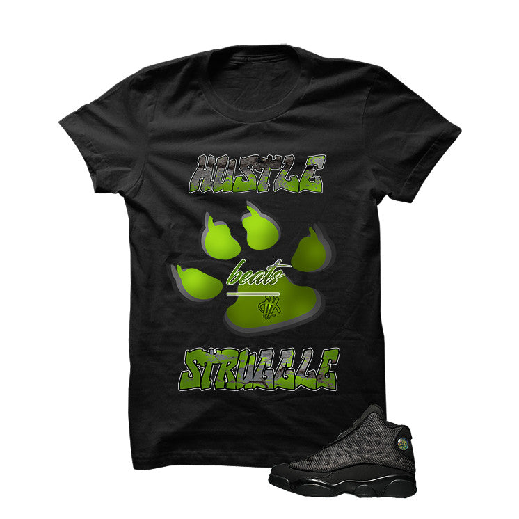 Jordan 13 Black Cat Black T Shirt (Hustle Beats Struggle) - illCurrency Matching T-shirts For Sneakers and Sneaker Release Date News - 1