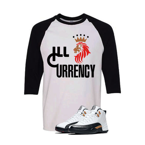 Jordan 12 Chinese New Year White And Black Baseball T's (Lion Currency)