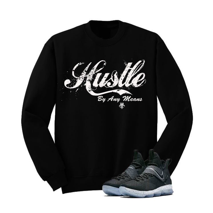 Nike Lebron 14 Black Ice Black T Shirt (Hustle By Any Means) - illCurrency Matching T-shirts For Sneakers and Sneaker Release Date News - 2