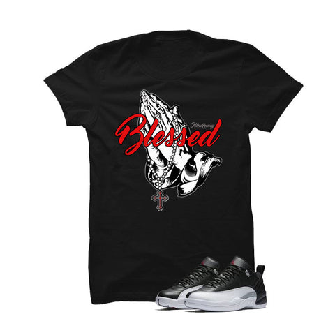 Jordan 12 Low Playoff Black T Shirt (Blessed)