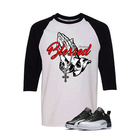 Jordan 12 Low Playoff White And Black Baseball T's (Blessed)
