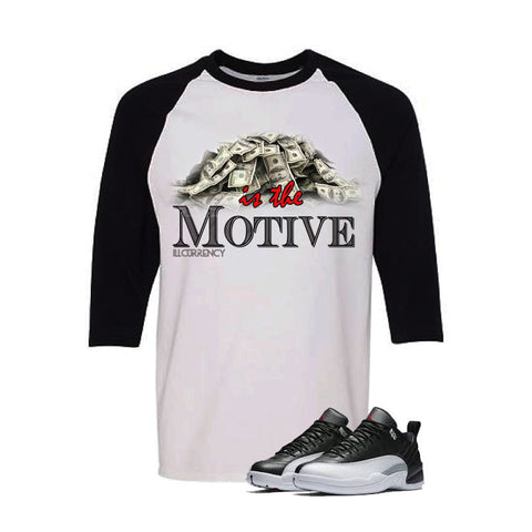 Jordan 12 Low Playoff White And Black Baseball T's (Money Is The Motive)