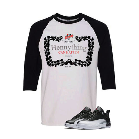 Jordan 12 Low Playoff White And Black Baseball T's (Henny)