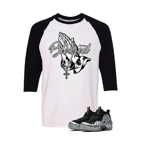 Foamposite Pro Silver Surfer White And Black Baseball T's (Blessed)
