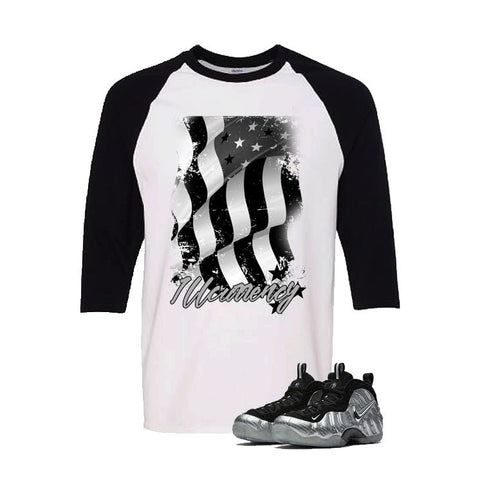 Foamposite Pro Silver Surfer White And Black Baseball T's (Flag)