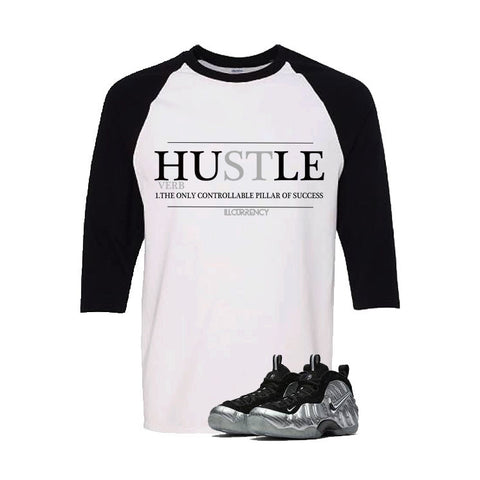 Foamposite Pro Silver Surfer White And Black Baseball T's (Hustle)