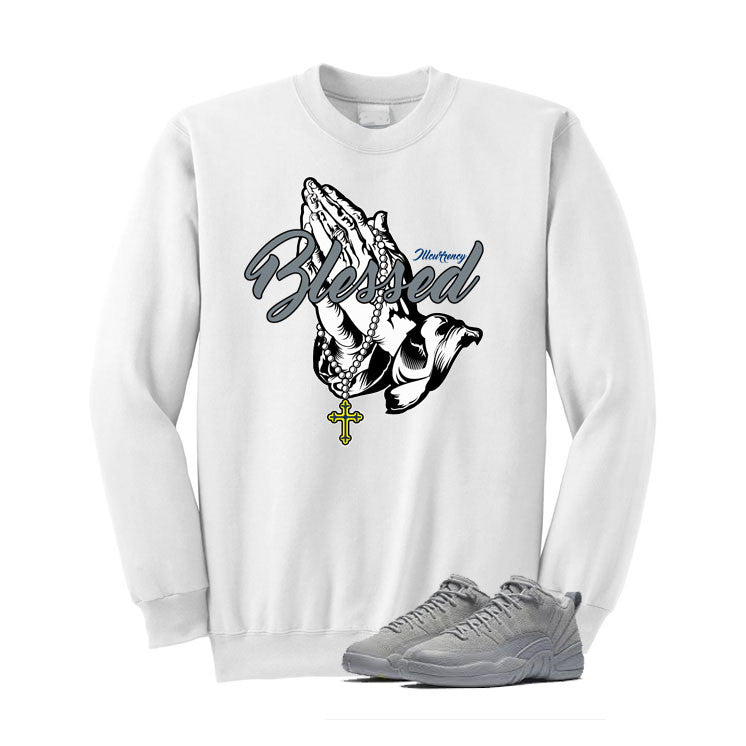 Jordan 12 Low Wolf Grey White T Shirt (Blessed)