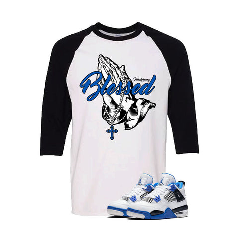 Jordan 4 Motorsports White And Black Baseball T's (Blessed)