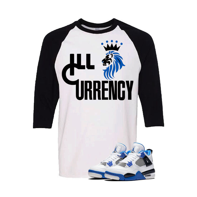 Jordan 4 Motorsports White And Black Baseball T's (Lion Currency)