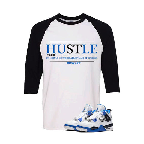 Jordan 4 Motorsports White And Black Baseball T's (Hustle)