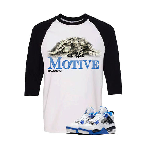 Jordan 4 Motorsports White And Black Baseball T's (Money Is The Motive)