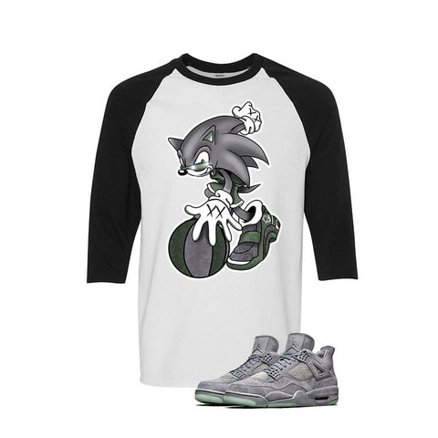Kaws X Jordan 4 Grey Suede White And Black Baseball T's (Too Fast)