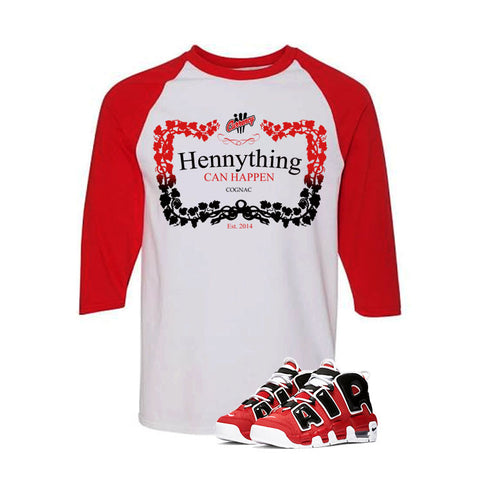 Nike Air More Uptempo Bulls White And Red Baseball T's (Henny)