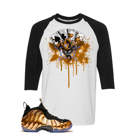 Foamposite One Copper White And Black Baseball T's (Joker Cards)